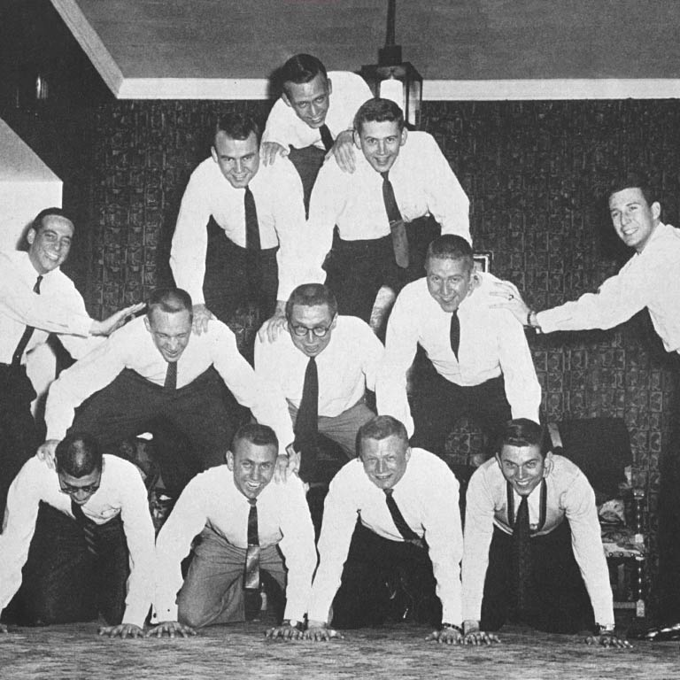 1959 Aeons members form a human pyramid